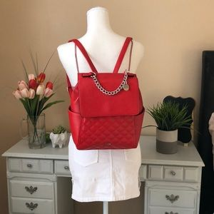 Nine West Quilted Flap Backpack Bag Red New